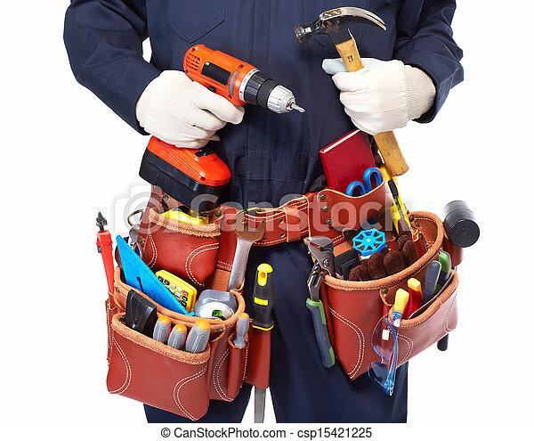Handyman con un cinturón de herramientas. - csp15421225