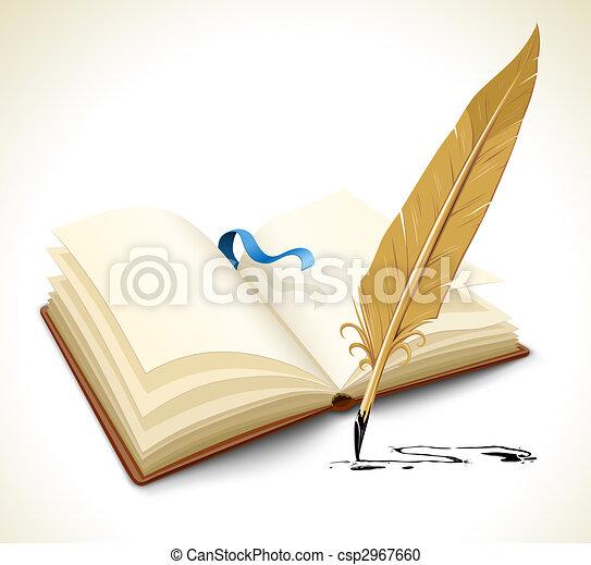 Libro abierto con herramientas de plumas de tinta - csp2967660