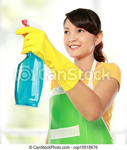 Una mujer con una herramienta de limpieza - csp10518676
