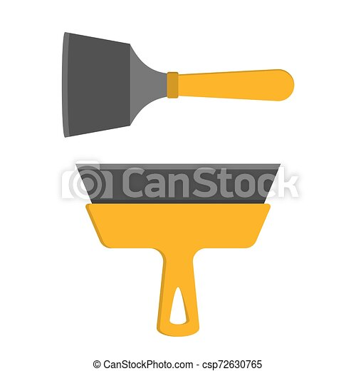 Espátula amarilla. Herramienta para reparar el hogar. Casa - csp72630765