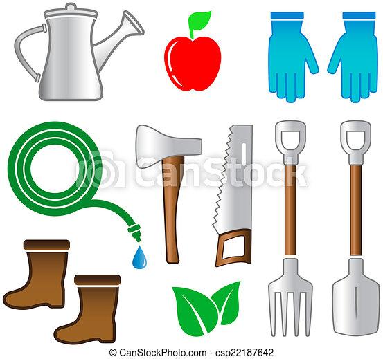 Worksheet. Grficos vectoriales EPS de herramientas conjunto jardinera