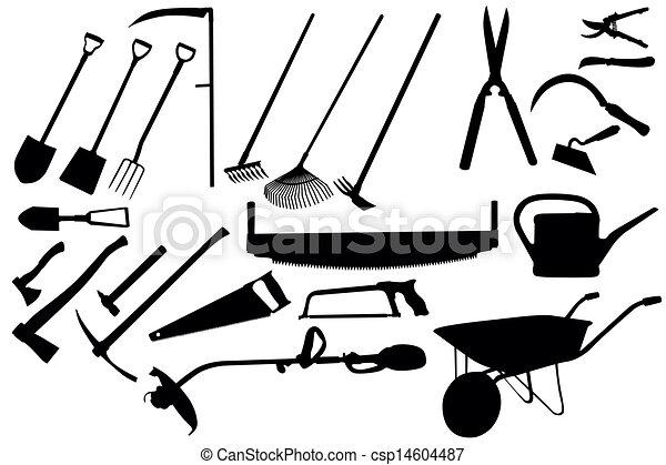 Worksheet. Grfico vectorial de herramientas de jardinera coleccin