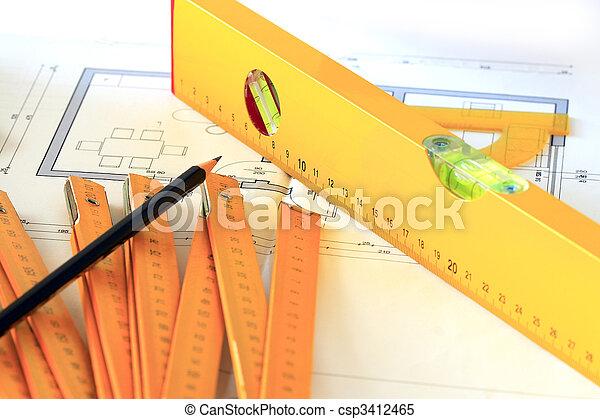 Dibujos arquitectónicos y herramientas - csp3412465
