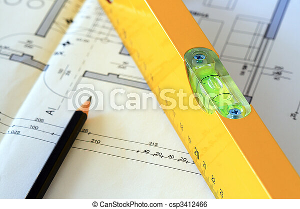 herramientas, dibujos, arquitectónico - csp3412466