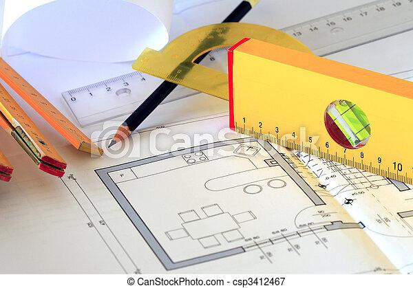 herramientas, dibujos, arquitectónico - csp3412467