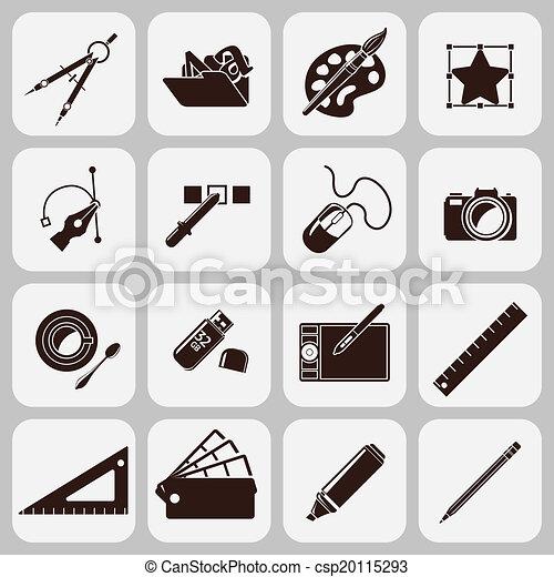 Herramientas de diseño iconos negros - csp20115293