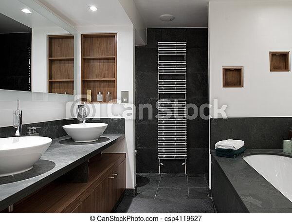 hers, 욕실, 그의 것, 물 버리는 곳, 사치 - csp4119627