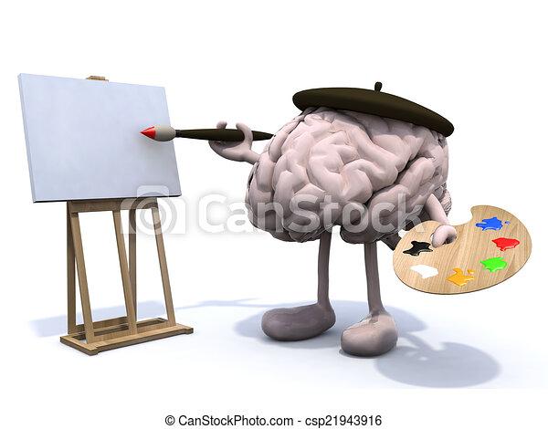 hersenen, schilder, benen, armen, menselijk - csp21943916