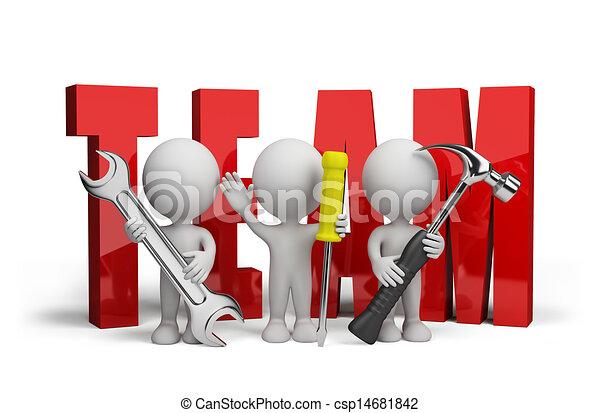 herstellers, persoon, 3d, team - csp14681842