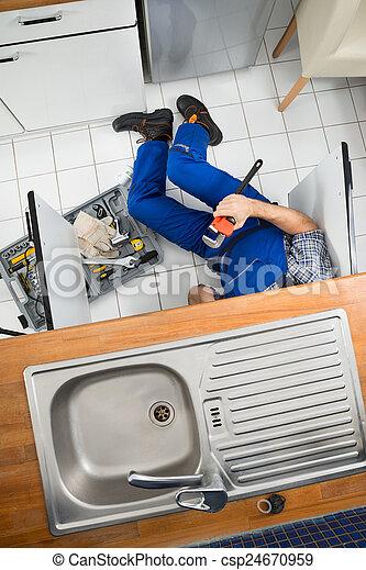 herstelling, installatiebedrijf, zinken - csp24670959