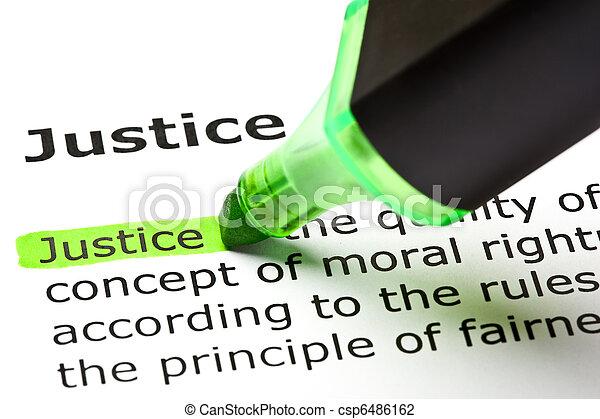 hervorgehoben, 'justice', grün - csp6486162