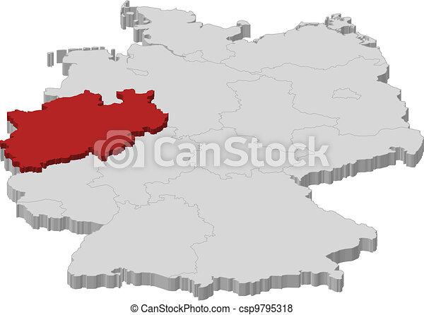 Hervorgehoben Landkarte Nordrhein Westfalen Deutschland