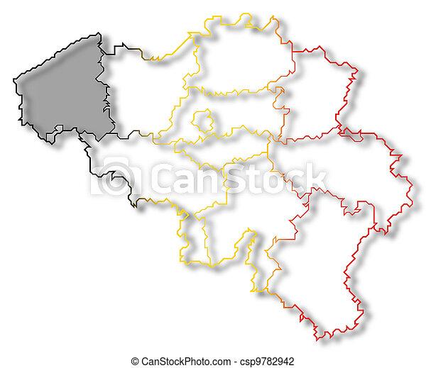 Belgien Karte Umriss.Hervorgehoben Landkarte Flandern Belgien Westen
