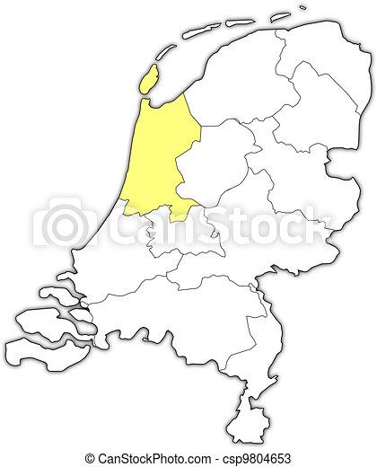 Niederlande Karte Umriss.Hervorgehoben Landkarte Nord Holland Niederlande