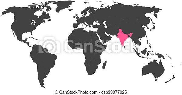 Weltkarte Mit Hervorgehobenen Indien Simlified Politische
