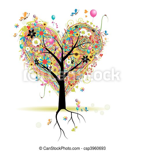 Frohe Feiertage, Herzformbaum mit Ballons - csp3960693