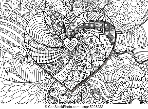 Herz, blumen. Färbung, zendoodle, element, hearted, form ...