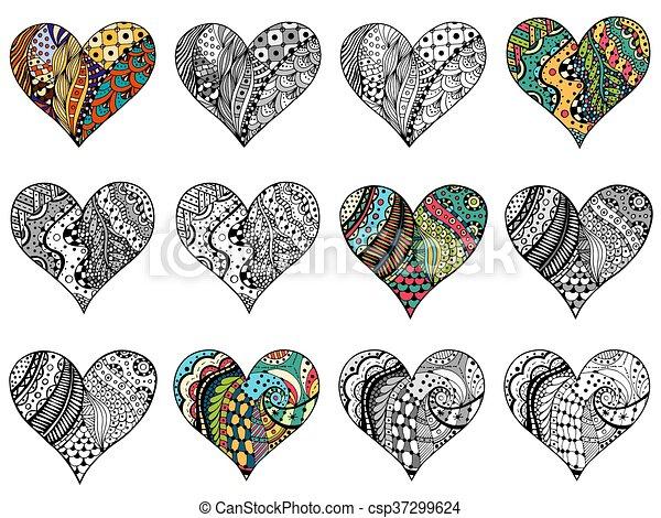 Herz, blumen, muster. Herz, färbung, gefärbt, geformt,... Clipart ...