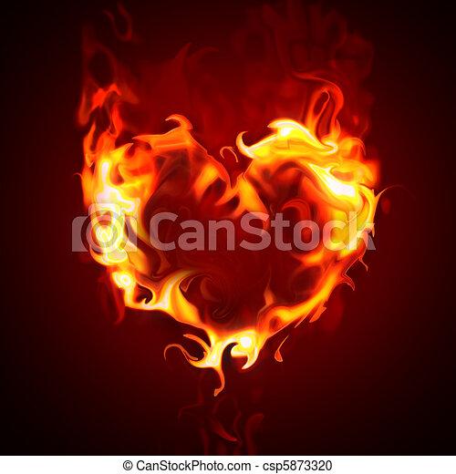 Herz, brennender. Feuer, herz.