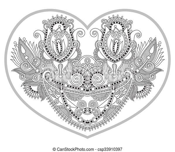 Herz, färbung, älter, muster, geformt, buch, erwachsene... EPS ...