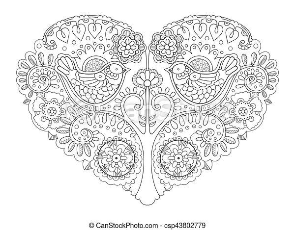 Herz, färbung, abbildung, vektor, design, buch. Vektor, herz ...