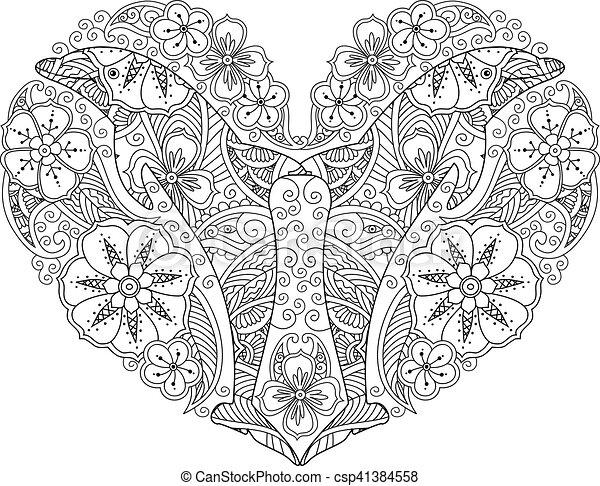 Herz, färbung, delfin, freigestellt, hintergrund., form, weiße seite ...