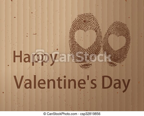 Herz Fingerabdruck Herz Cardboad Fingerabdruck Clipart Vektor