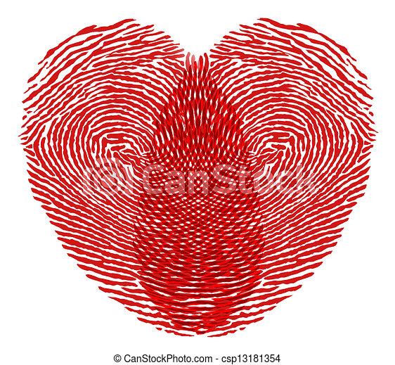 Herz Fingerabdruck Herz Weisser Hintergrund Fingerabdruck