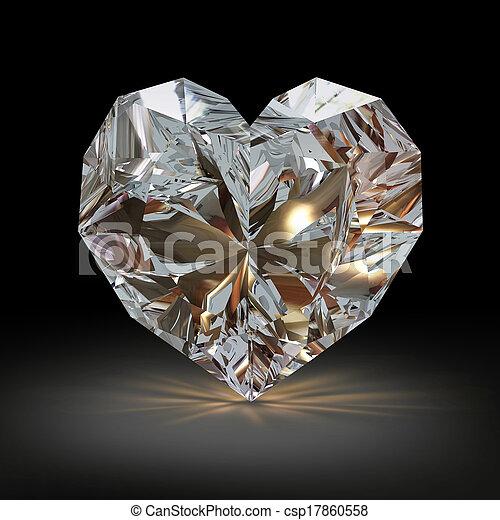 Diamanten in Form von Herz auf schwarzem Hintergrund. - csp17860558