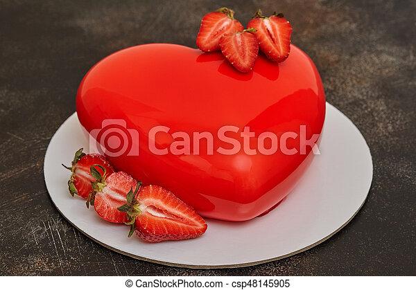 Herz Form Glasur Mousse Dunkel Form Hintergrund Kuchen Rotes
