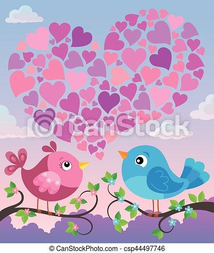 herz- form, vögel, valentine - csp44497746