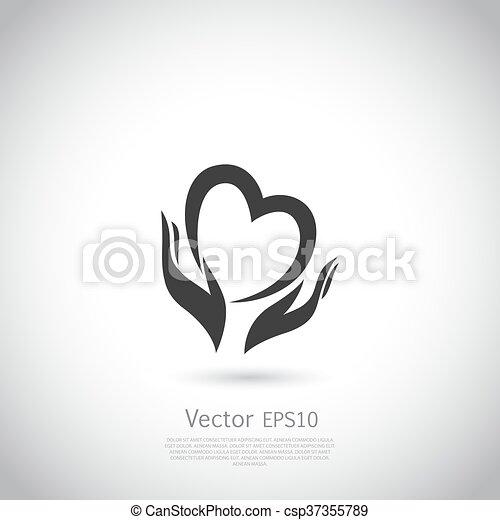 Herz, freiwillig, besitz, zeichen, wohltätigkeit, nichts, symbol ...
