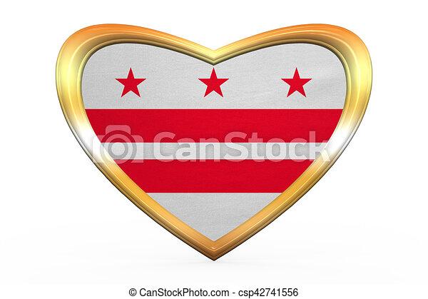Herz, goldenes, gleichstrom, form, fahne, washington,... Stock ...
