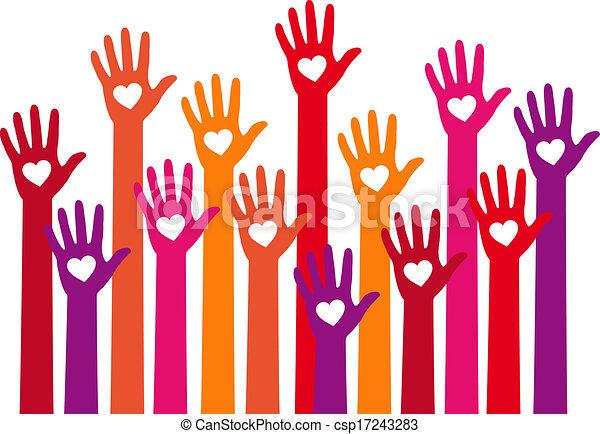 Rote Hände mit Herz, Vektor - csp17243283