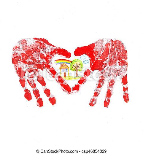 Herz Handabdruck Form Kind Herz Familie Form Haus