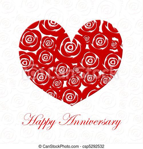 herz, jubiläum, rosen, tag, rotes , glücklich - csp5292532