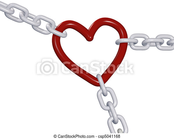Herz Liebe Verbindungen Kette Ziehen Drei Valentine 3d