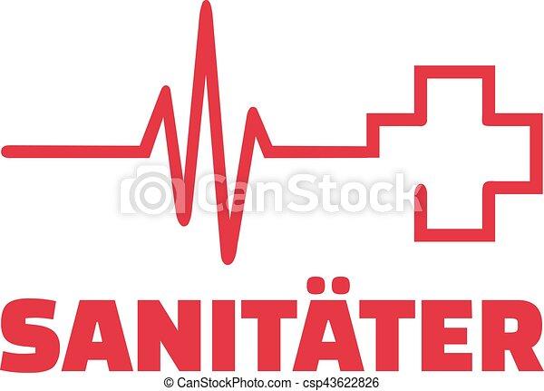 Sanitäter symbol  Herz, linie, kreuz, rotes , sanitäter.