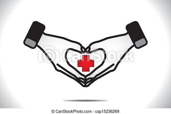 herz, medizin, schutz, plus, sorgfalt - csp15236269