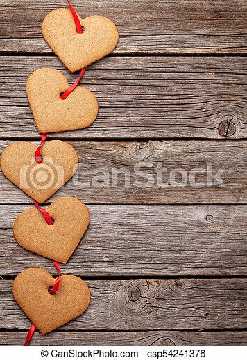 herz, pl�tzchen, valentines, gruß, tag, karte - csp54241378