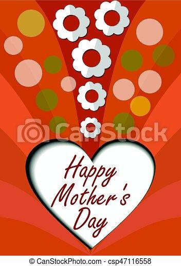 Herz, schnitt, mütter, glücklich, papier, weisse blumen, banner, tag ...