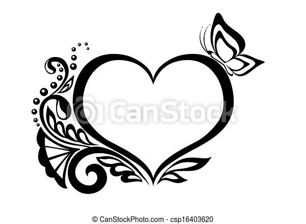Herz, schwarzweiss, design, blumen-, symbol, butterfly. Herz ...
