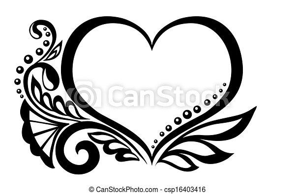 Herz, schwarzweiss, design, blumen-, symbol, butterfly.... Vektor ...