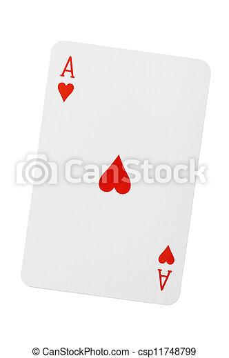 Herz Spielen Karte As Herz As Hintergrund Weisses Spielen Karte