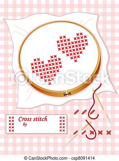 Relativ Herz, sticken, stich, wie, kreuz. Pastell, kattun, band, zu, gold ZE64