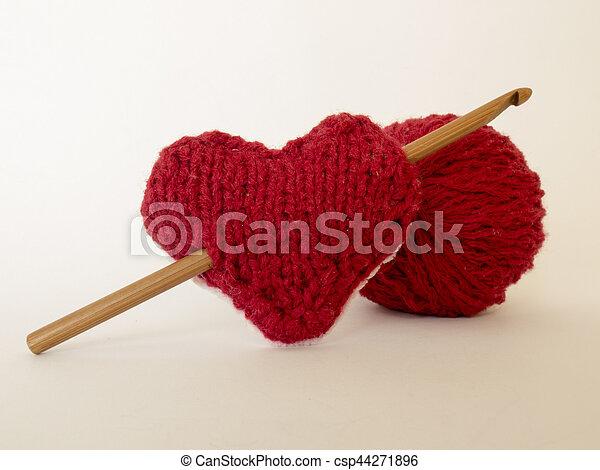 Herz, strickzeug, haken, hintergrund, liebe, wolle. Herz ...