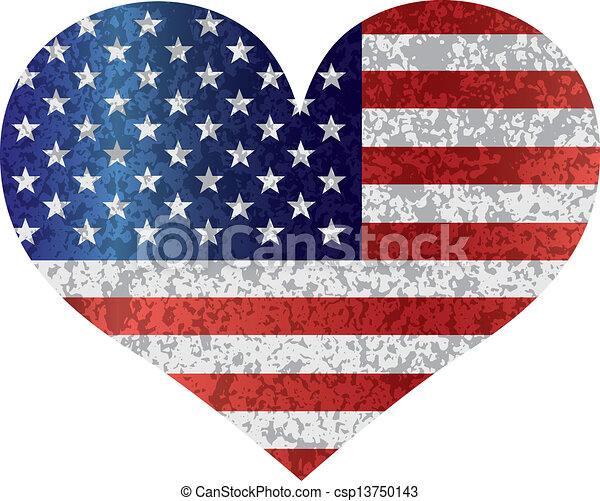 4th of july USA flag hearttexted - csp13750143