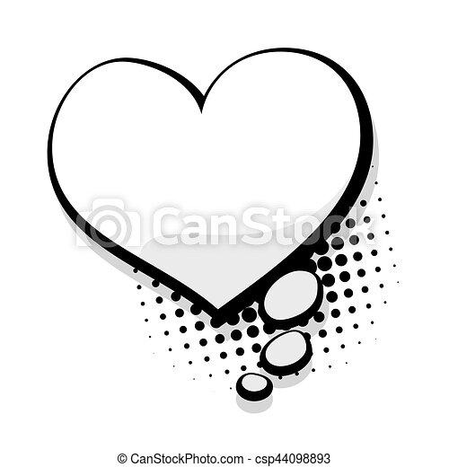 Herz, vortrag halten , schablone, leer, komiker, blase. Herz, skizze ...
