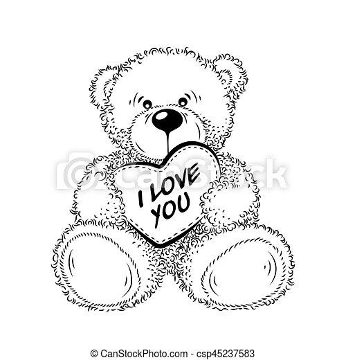 Teddy Mit Herz Gezeichnet