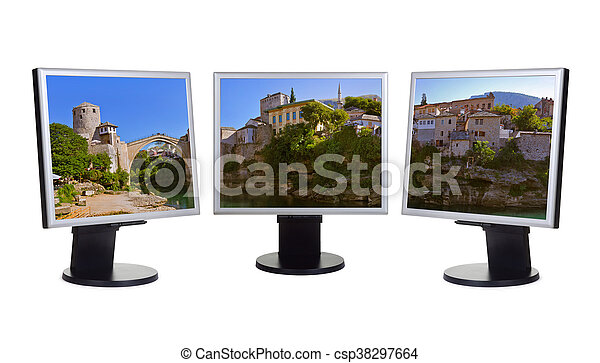 Cityscape de Mostar - Bosnia y Herzegovina (mi foto) en monitores de ordenador - csp38297664